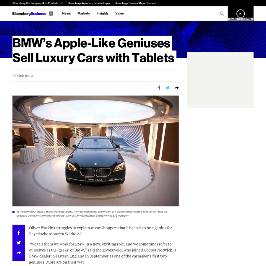 """Oliver Watkins struggles to explain to car shoppers that his job is to be a genius for Bayerische Motoren Werke AG. """"We tell them we work for BMW in a new, exciting role, and we sometimes refer to ourselves as the 'geeks' of BMW,"""" said the 21-year-old, who joined Cooper Norwich, a BMW dealer in eastern England in September as one of the carmaker's first two geniuses."""