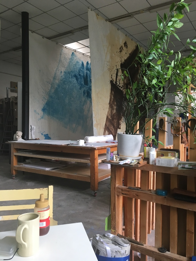 Zhang Wei's studio with large works on paper