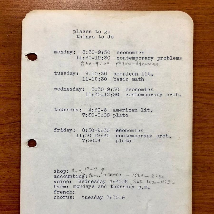 Janet Heling's course + work schedule from spring 1945 at Black Mountain College