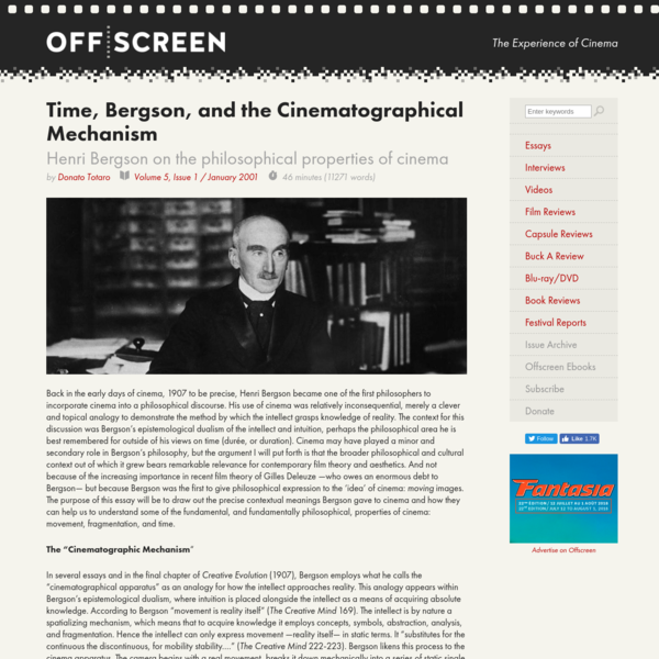 Time, Bergson, and the Cinematographical Mechanism