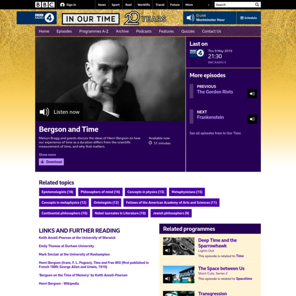 BBC Radio 4 - In Our Time, Bergson and Time