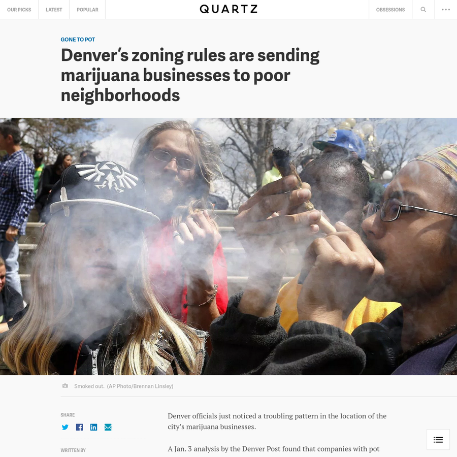 Denver officials just noticed a troubling pattern in the location of the city's marijuana businesses. A Jan. 3 analysis by the Denver Post found that companies with pot licenses in the city, where cannabis use has been legal since 2014, are mostly in low-income neighborhoods with high proportions of ethnic minorities.