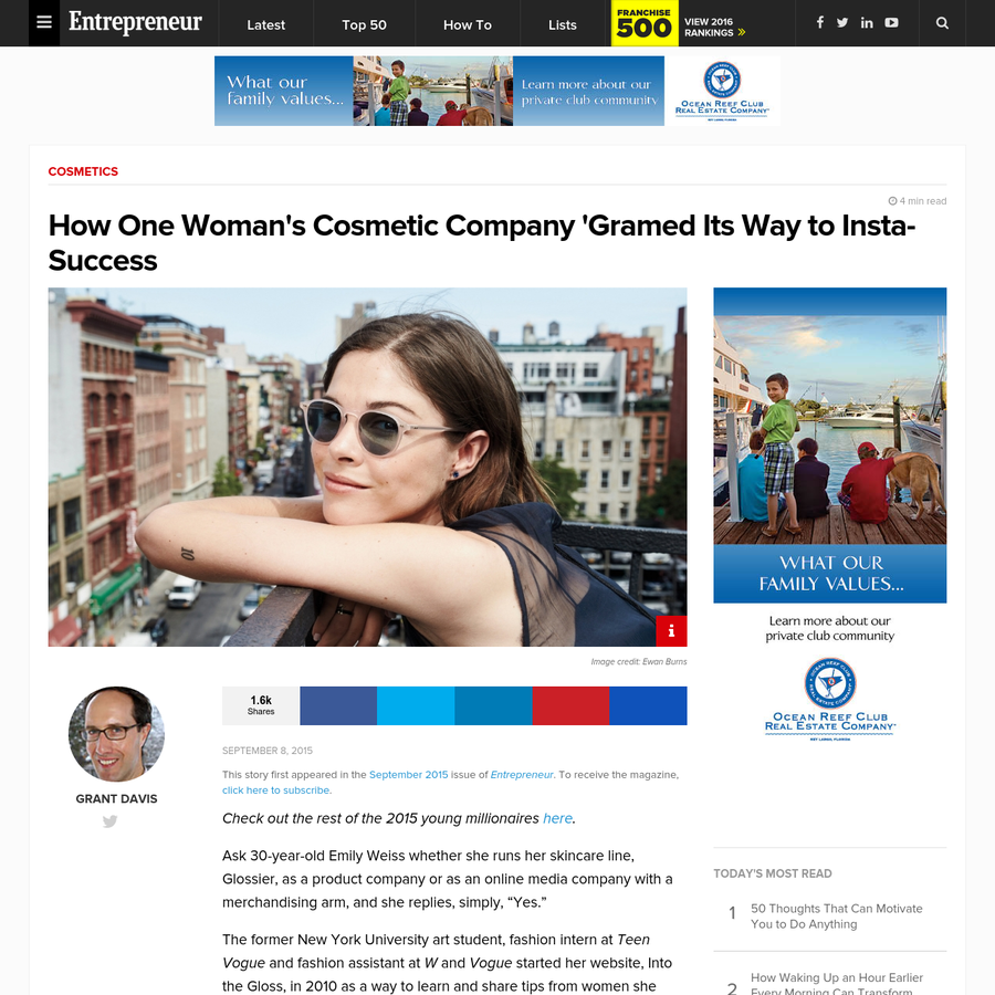 """This story first appeared in the September 2015 issue of Entrepreneur . To receive the magazine, click here to subscribe. Check out the rest of the 2015 young millionaires here. Ask 30-year-old Emily Weiss whether she runs her skincare line, Glossier, as a product company or as an online media company with a merchandising arm, and she replies, simply, """"Yes."""""""