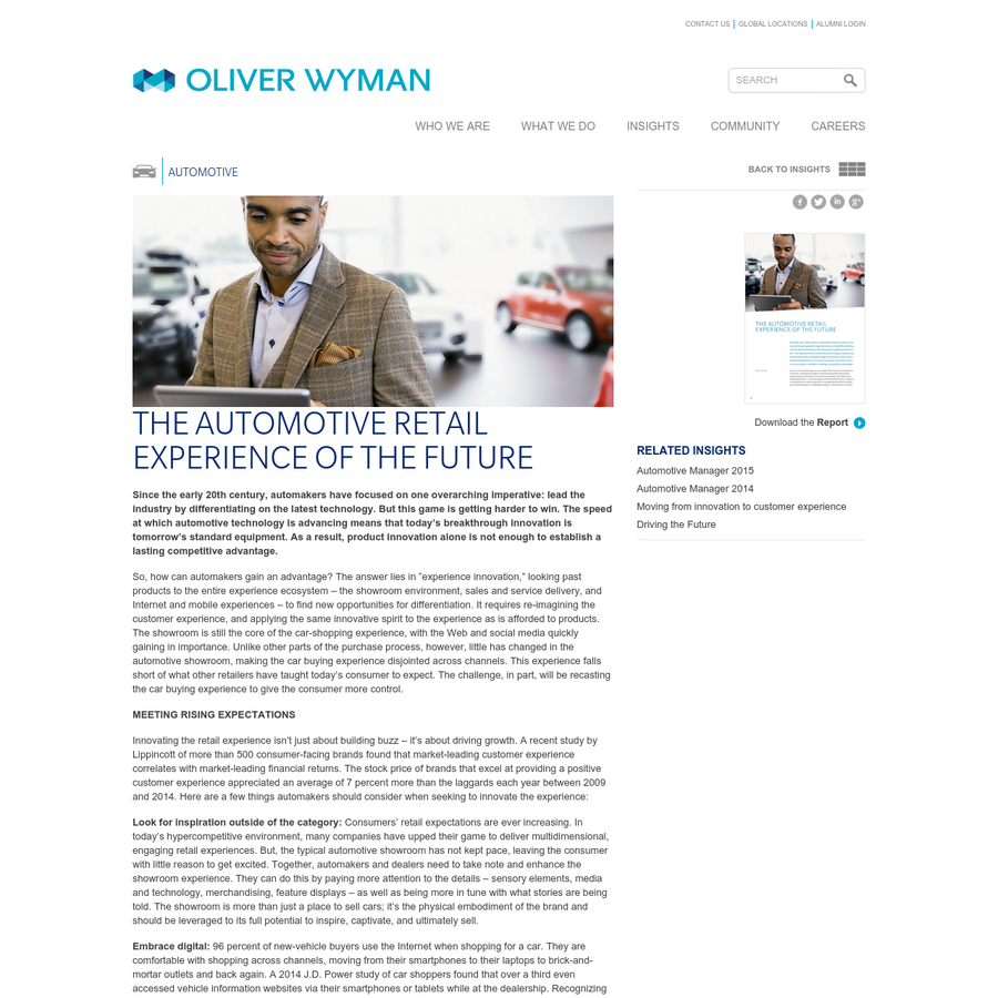 Since the early 20th century, automakers have focused on one overarching imperative: lead the industry by differentiating on the latest technology. But this game is getting harder to win. The speed at which automotive technology is advancing means that today's breakthrough innovation is tomorrow's standard equipment.