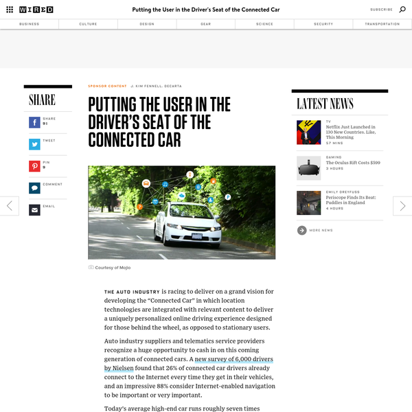 """The auto industry is racing to deliver on a grand vision for developing the """"Connected Car"""" in which location technologies are integrated with relevant content to deliver a uniquely personalized online driving experience designed for those behind the wheel, as opposed to stationary users. Auto industry suppliers and telematics service providers recognize a huge opportunity..."""