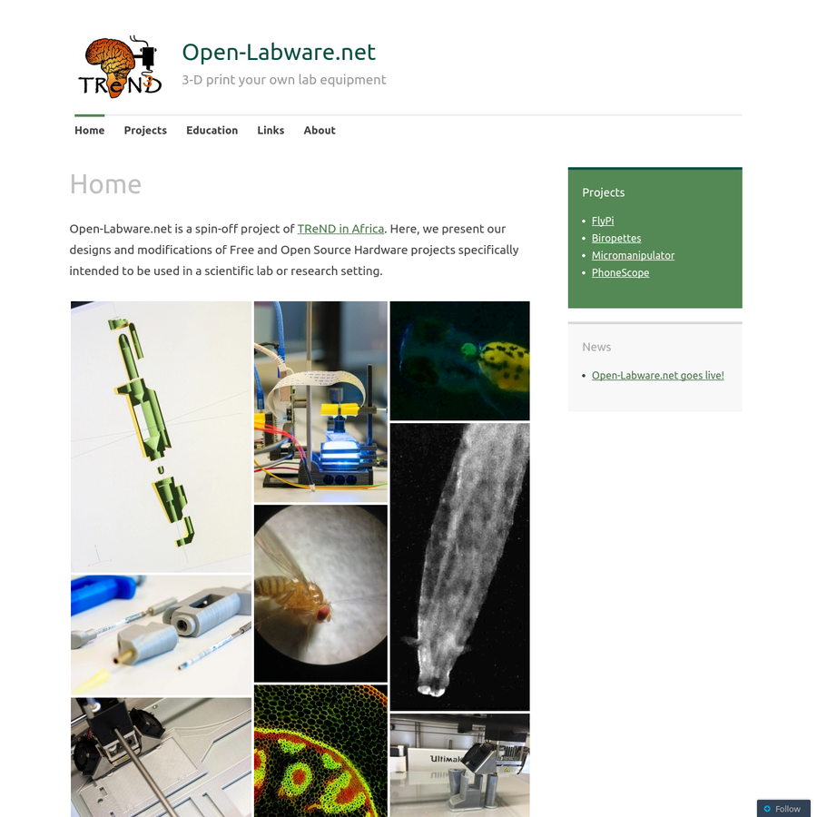 Open-Labware.net is a spin-off project of TReND in Africa. Here, we present our designs and modifications of Free and Open Source Hardware projects specifically intended to be used in a scientific lab or research setting. Want to learn more? Check out our paper on the subject.
