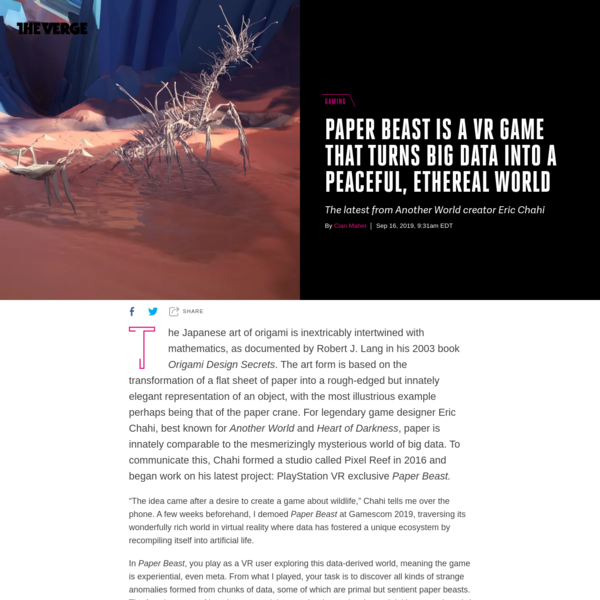 Paper Beast is a VR game that turns big data into a peaceful, ethereal world