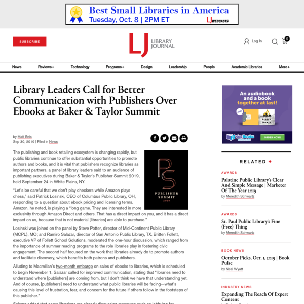 Library Leaders Call for Better Communication with Publishers Over Ebooks at Baker & Taylor Summit