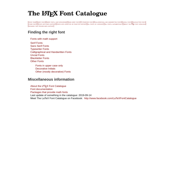 The LaTeX Font Catalogue - Front Page