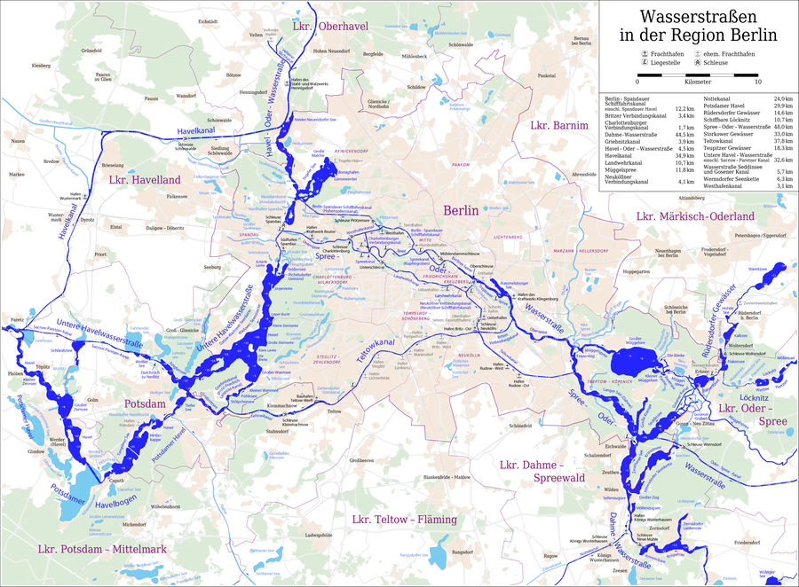 Map of the Waterways of Berlin