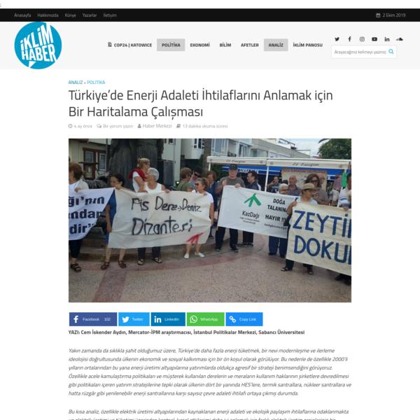 Türkiye'de Enerji Adaleti İhtilaflarını Anlamak için Bir Haritalama Çalışması - İklim Haber
