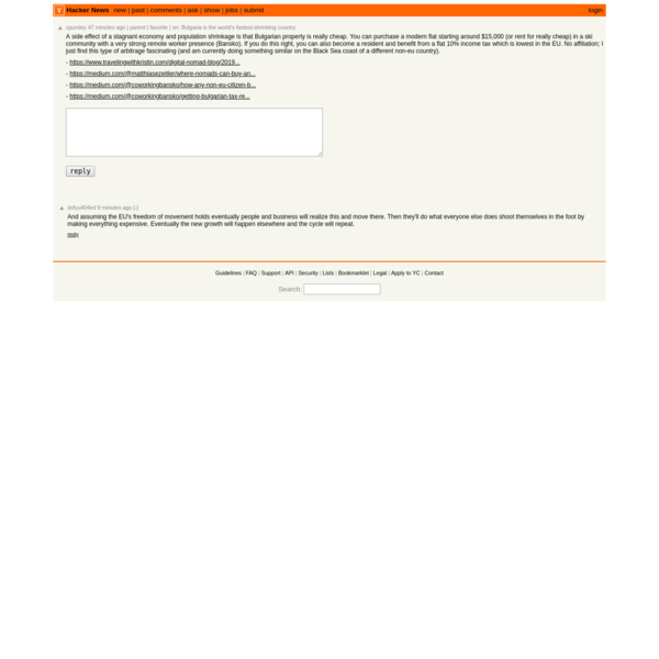 A side effect of a stagnant economy and population shrinkage is that Bulgarian p...   Hacker News