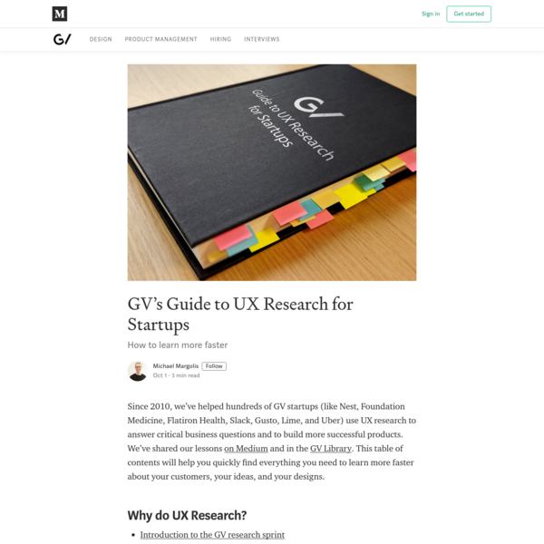 GV's Guide to UX Research for Startups