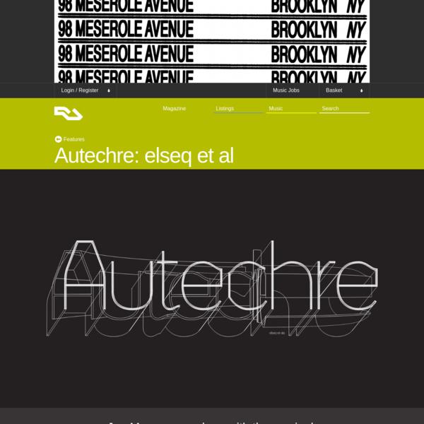 Autechre: elseq et al