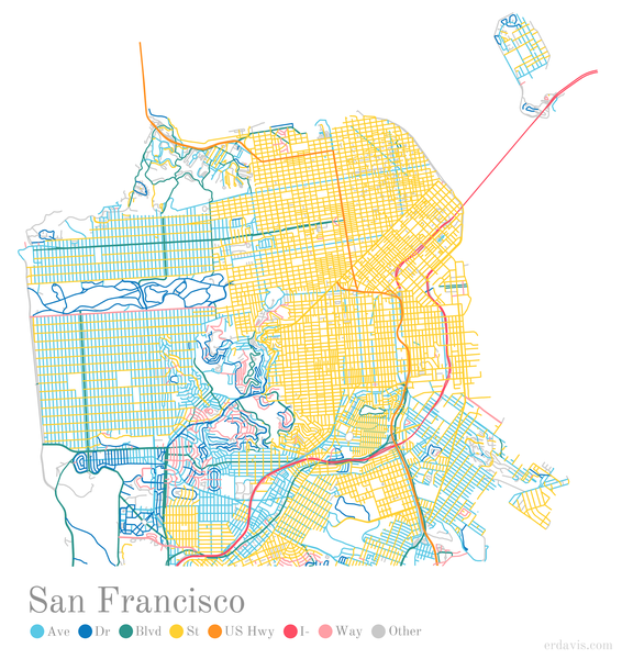 San Francisco streets color-coded by suffix, Erin Davis