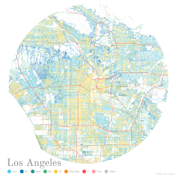 Los Angeles streets color-coded by suffix, Erin Davis