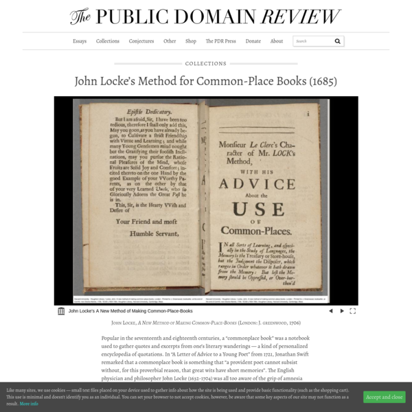 John Locke's Method for Common-Place Books (1685) – The Public Domain Review
