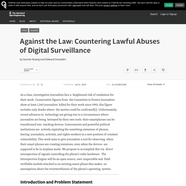 Against the Law: Countering Lawful Abuses of Digital Surveillance · The Journal of Open Engineering