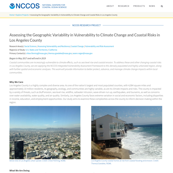 Assessing the Geographic Variability in Vulnerability to Climate Change and Coastal Risks in Los Angeles County - NCCOS Coas...