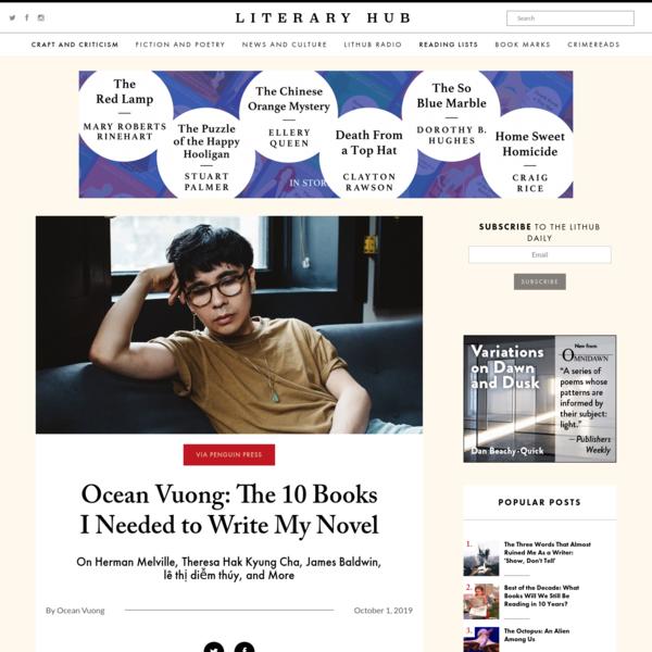 Ocean Vuong: The 10 Books I Needed to Write My Novel