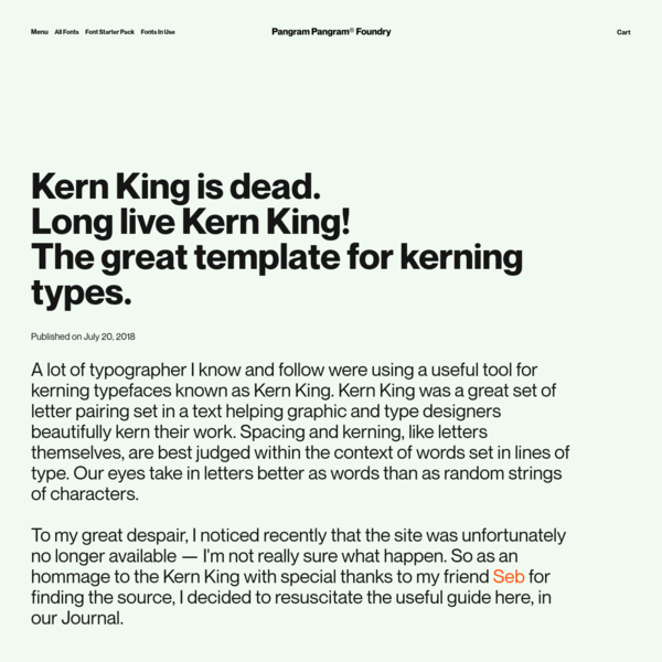 Kern King is dead.Long live Kern King!The great template for kerning types.