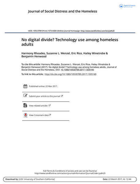 No digital divide? Technology use among homeless adults