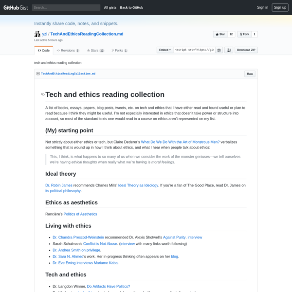 tech and ethics reading collection