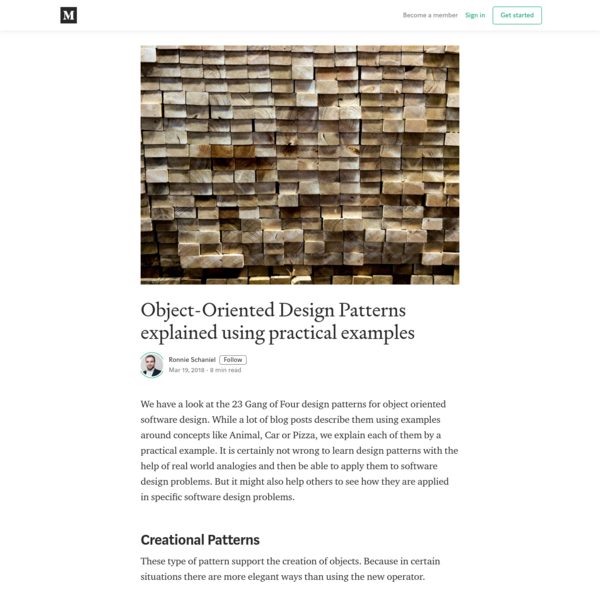 Object-Oriented Design Patterns explained using practical examples