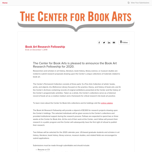 Center For Book Arts - Book Art Research Fellowship