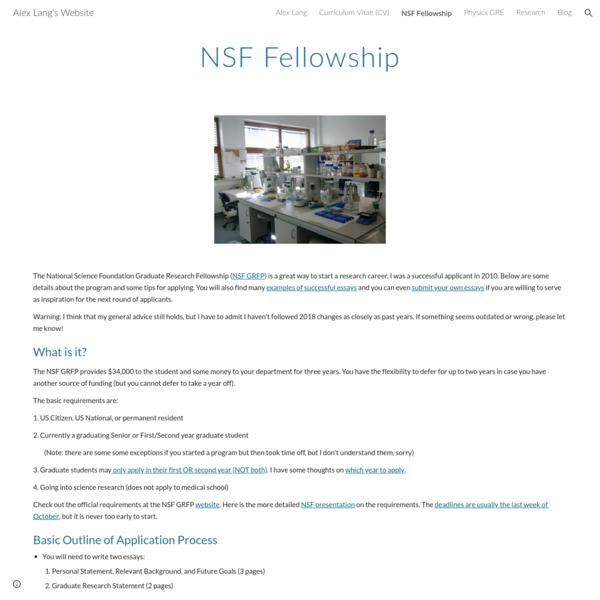Alex Lang's Website - NSF Fellowship