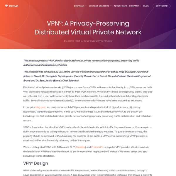 VPN⁰: A Privacy-Preserving Distributed Virtual Private Network   Brave Browser