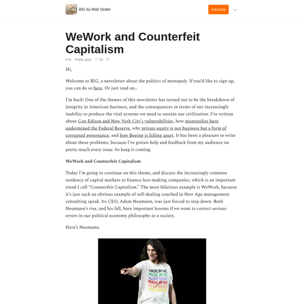 WeWork and Counterfeit Capitalism
