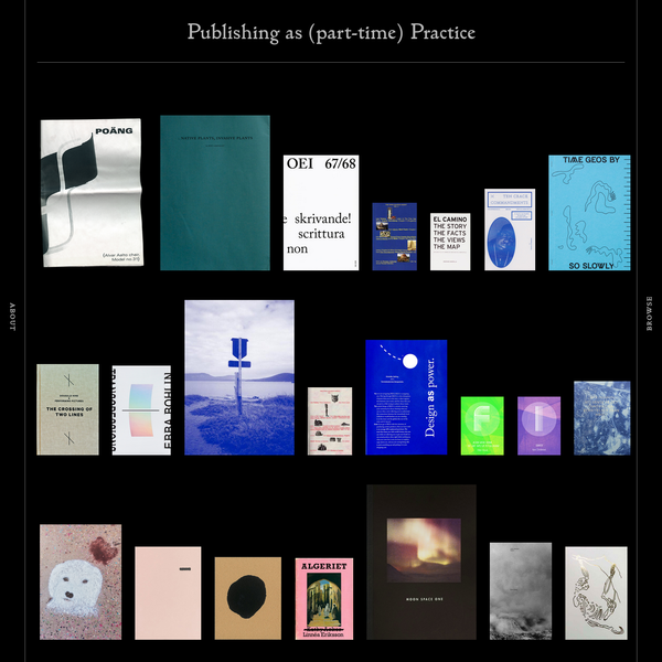 PA(P)P is a growing network of 26 small-scale Nordic publishers in the cultural sector Andperseand, criteria Hardbound books 148.5 mm wide 210 mm tall printed by Göteborgstryckeriet editions of 500 written in English 64 pages designed by Sandberg & Timonen books published in 2014 Bläck charm nostalgi vassa tänder, Blackbook
