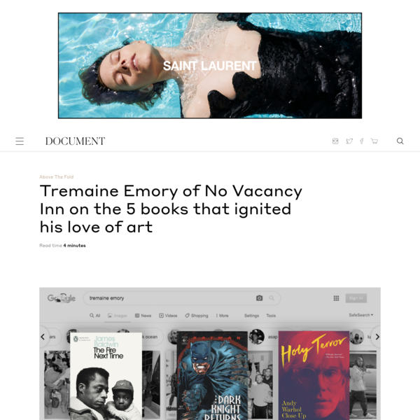 Tremaine Emory of No Vacancy Inn on the 5 books that ignited his love of art