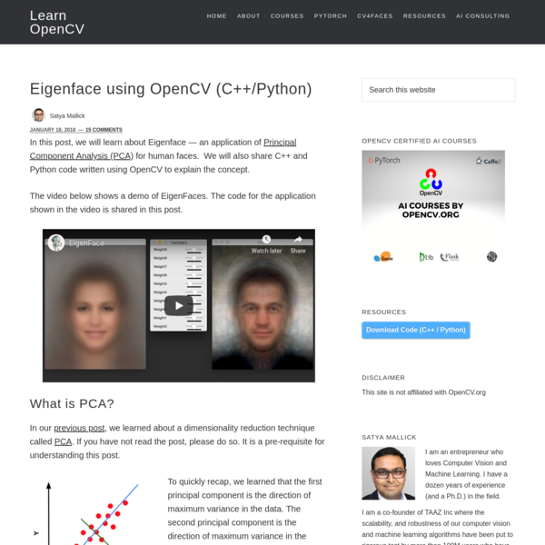 Eigenface using OpenCV (C++/Python)