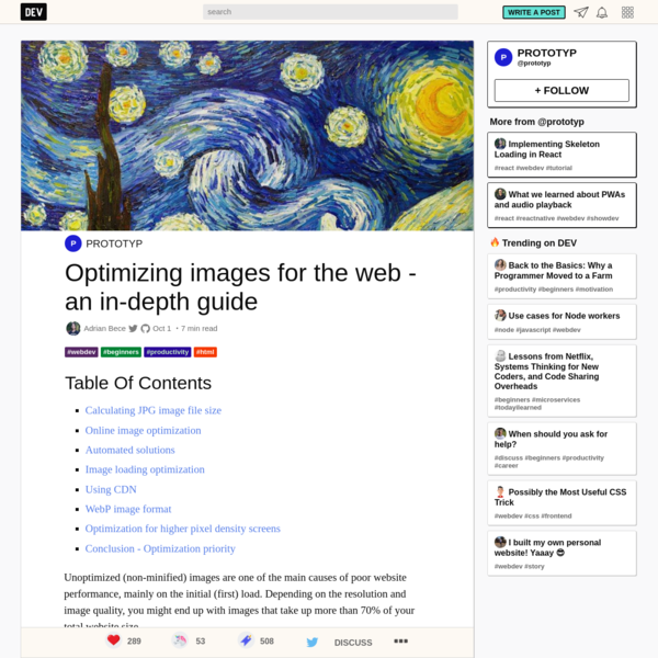 Optimizing images for the web - an in-depth guide