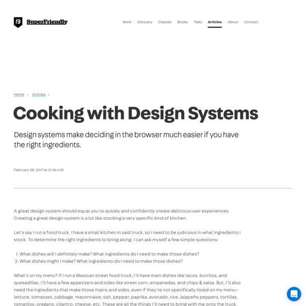 Cooking with Design Systems