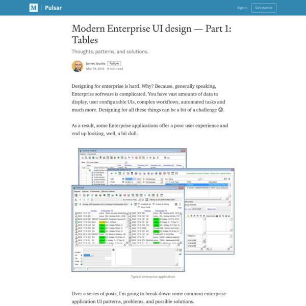 Modern Enterprise UI design - Part 1: Tables