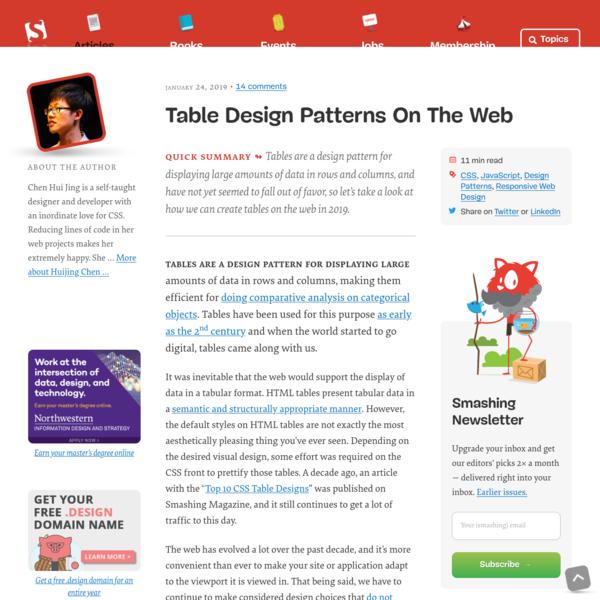 Table Design Patterns On The Web - Smashing Magazine