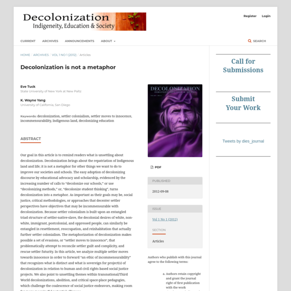 Eve Tuck, K. Wayne Yang, Decolonization is not a metaphor, 2012