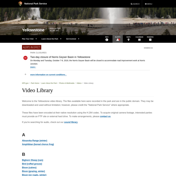 Video Library - Yellowstone National Park (U.S. National Park Service)