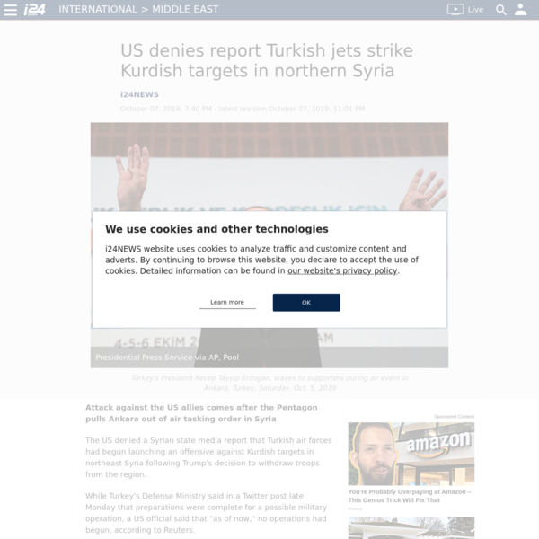 US denies report Turkish jets strike Kurdish targets in northern Syria
