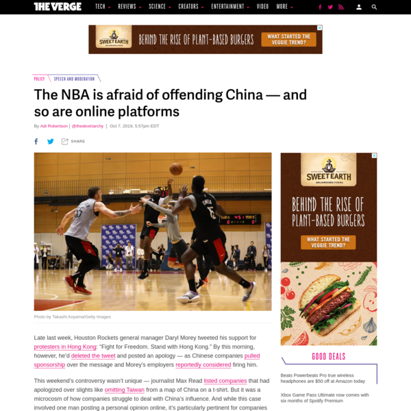 The NBA is afraid of offending China - and so are online platforms