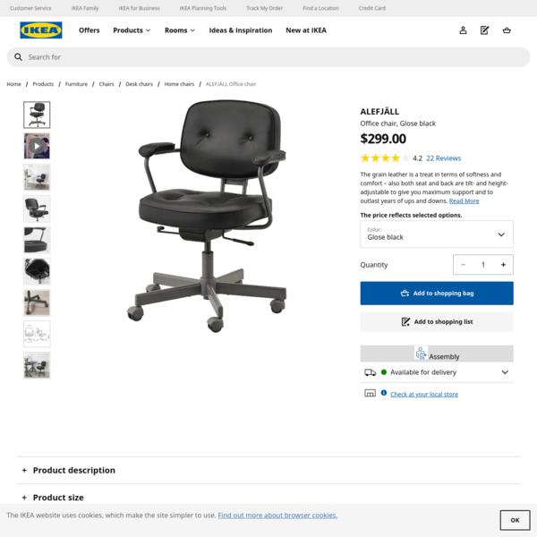 ALEFJÄLL Office chair - Glose black - IKEA