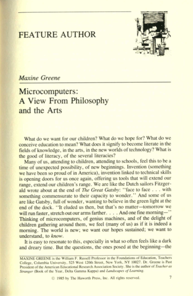 Maxine Greene, 1985