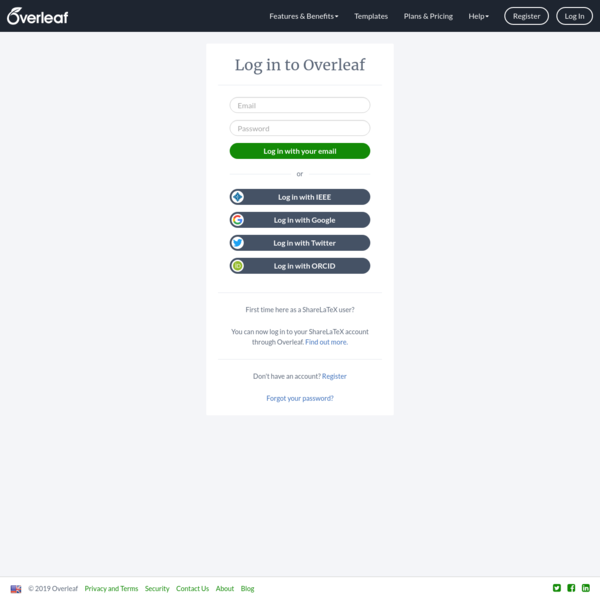 Log in to Overleaf