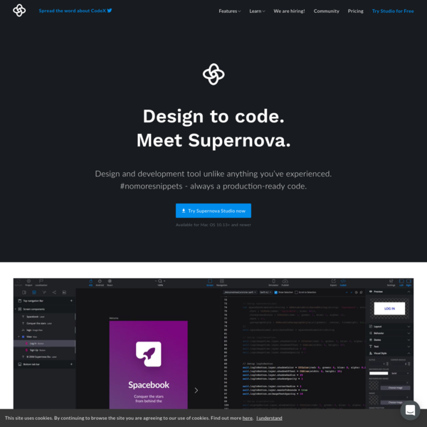 Supernova Studio | The World's First Design to Code Platform