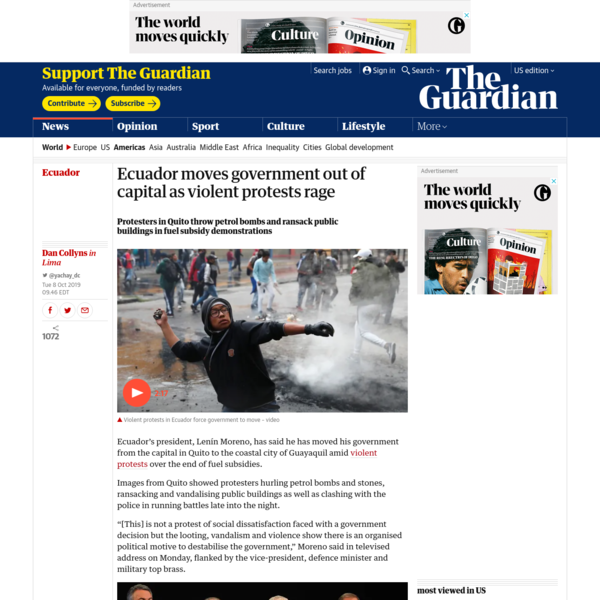 Ecuador moves government out of capital as violent protests rage
