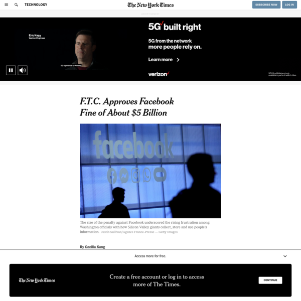 F.T.C. Approves Facebook Fine of About $5 Billion