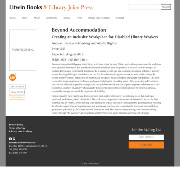 Beyond Accommodation | Litwin Books & Library Juice Press